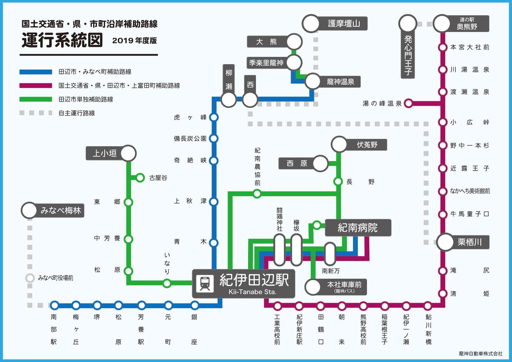 国土交通省・県・市町村補助路線 運行系統図