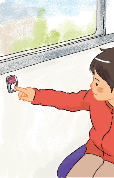 おりるバスていのアナウンスのあと、ていしゃボタンをおす。
